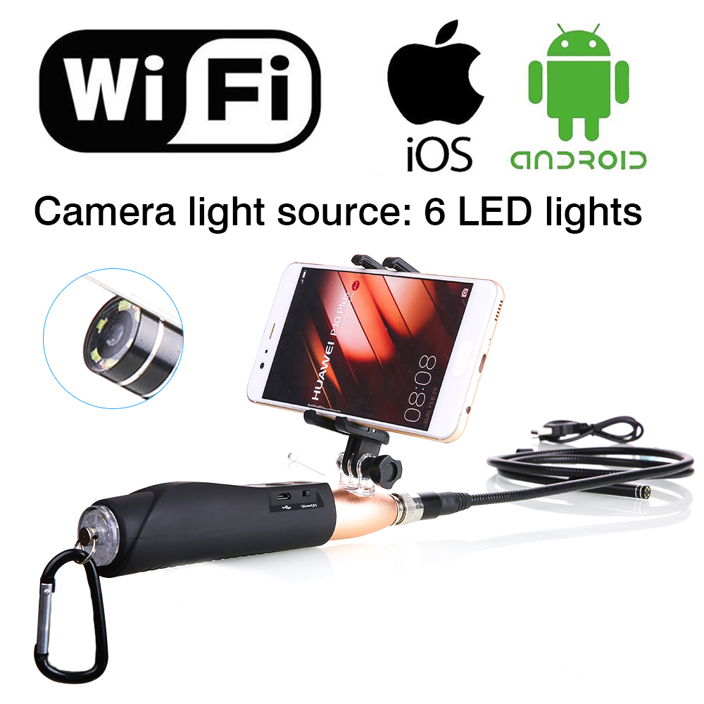 1m Hard Cable IOS Android WiFi Handheld Endoscope 8mm Lens 6 LED Waterproof Iphone Wifi Endoscope Camera Snake Inspection Camera 2017 new 8led 7m hard flexible snake usb wifi android ios iphone endoscope camera iphone borecope pipe inspection hd720p camera