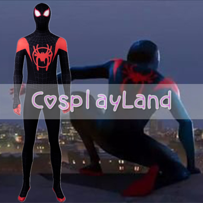 Spider-Man Into the Spider-Verse Costume Homecoming Cosplay Carnival Adult Superhero Spiderman Halloween Jumpsuit With Shos Sole