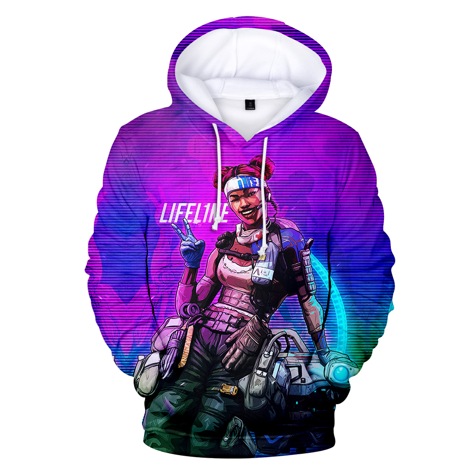 FADUN TOMMY Hoodies Kawaii 3D Apex Legends Print Sweatshirt Long Sleeve Women Clothes 2019 Hot Sale
