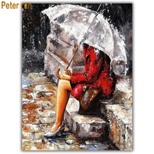 Diamond painting cross stitch portrait Square\Round diamond embroidery full Mosaic Home Decor Beauty under the umbrella