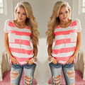 2016 New Sexy Women's Ladies O-Neck Short Sleeve Loose T-shirt Tops