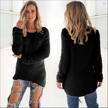 2018 Winter Women Hoodie Pullovers Shiny Crystal Beading O-neck Knitted Hoodies Elegant Casual Warm Knitwear