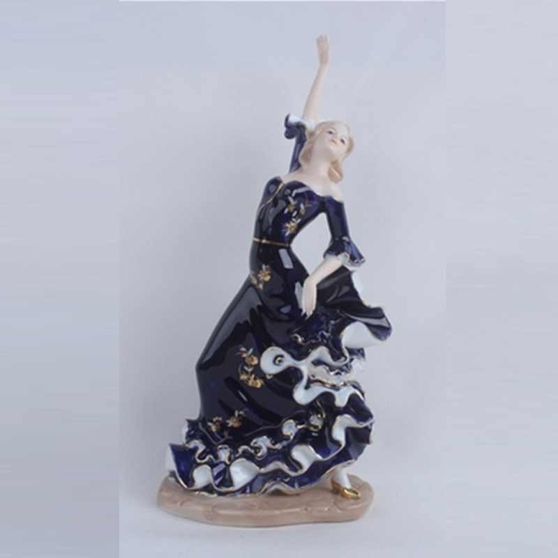Porcelain Lady Flamingo Dancer Statue Flamenco Figure Figurine Ceramic Art&Craft Living Room Decor L3201