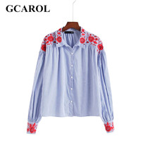 GCAROL New Arrival Embroidered Floral Women Blouse Fashion Striped Oversize Shirt Spring Autumn Winter Vintage Tops