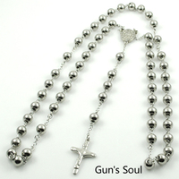 8MM Fashion Chain Beads Stainless Steel Rosary Necklace Men Women Jewelry With Small Cross Crucifix 3