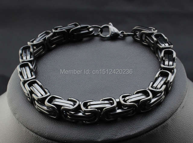 US $17 09 10% OFF|One Set Strong Black Tone Square Byzantine Chain Necklace  & Bracelet Set Stainless Steel Jewelry Set In Men's Birthday Gifts-in