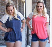 BKLD Women Casual Lace Splicing Short Sleeve Stylish Personality Plus Size LooseT-shirts Pink/Blue L/XL/XXL/XXXL Tee Shirt Femme