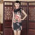 Sexy Print Black Chinese Traditional Dress Women Rayon Short Mini Qipao Summer New Cheongsam Flower Size S M L XL XXL NC009