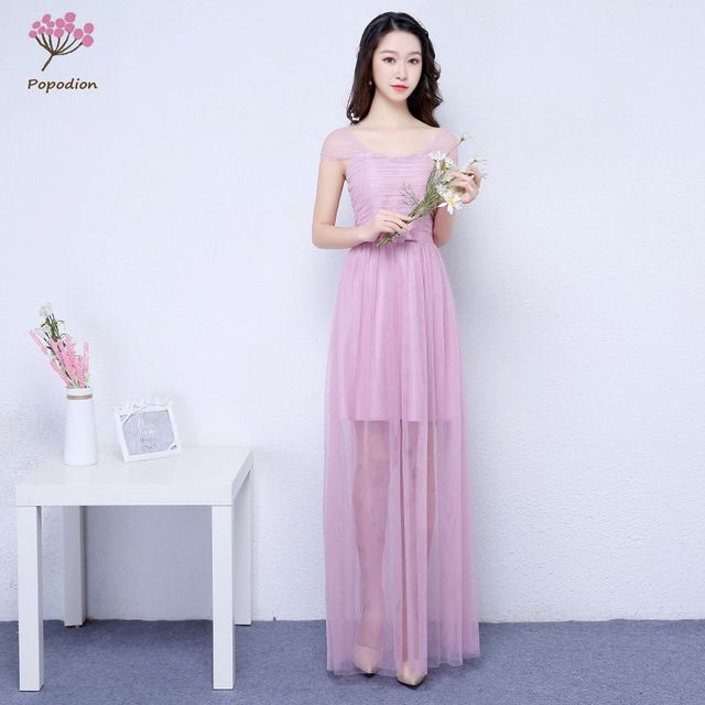 c6ea61541d470fa Фиолетовый нарядные платья Длинные для гостей свадьбы сестра партии  торжественное платье Большие размеры платье платья для