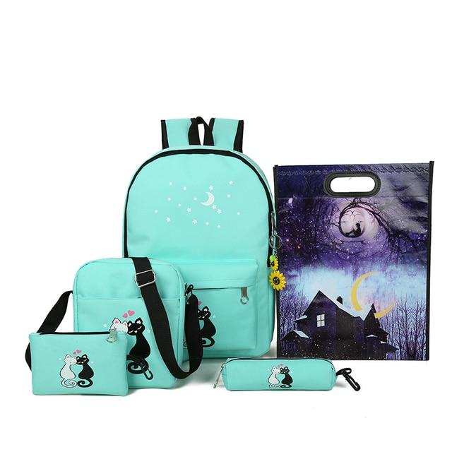 c050459884eb2 Dxyz ماركة 5 قطعة المجموعة النساء حقائب مدرسية لطيف القط أكياس الكتب  للمراهقات طباعة قماش
