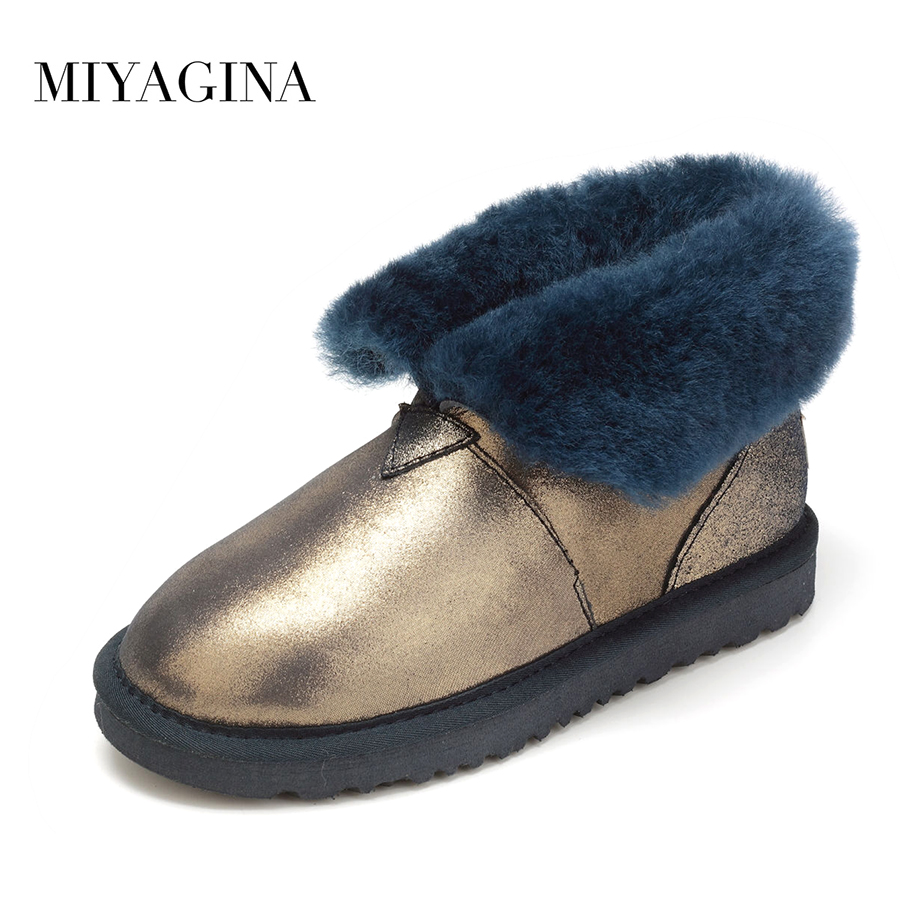 MIYAGINA Top Quality New Fashion Genuine Sheepskin Leather Snow Boots 100% Natural Fur Warm Women Shoes Real Wool Mujer Botas top quality 2018 new fashion 100% genuine sheepskin leather snow boots natural fur mujer botas warm wool non slip winter shoes