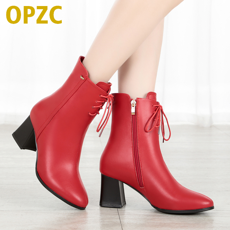 OPZC Women ankle boots pointed toe 2018 new leather boots women genuine,winter high heel sexy red party women boots, dress boot ausdom s10 bluetooth headset sports wireless in ear earphone for iphone samsung huawei lg phones tablets