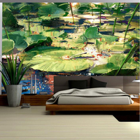 Custom Wallpaper Murals New Chinese Hand Painted Pond Lotus Leaf Mural Art Painting Modern Living Room