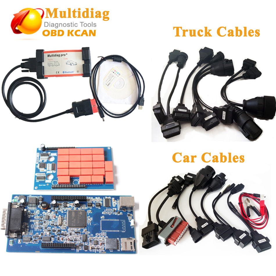 Multi Diag Same As Tcs CDP MVDIAG Multidiag Pro without Bluetooth V2015R3 with keygen MultiDiag Pro + truck cables+ Car Cables