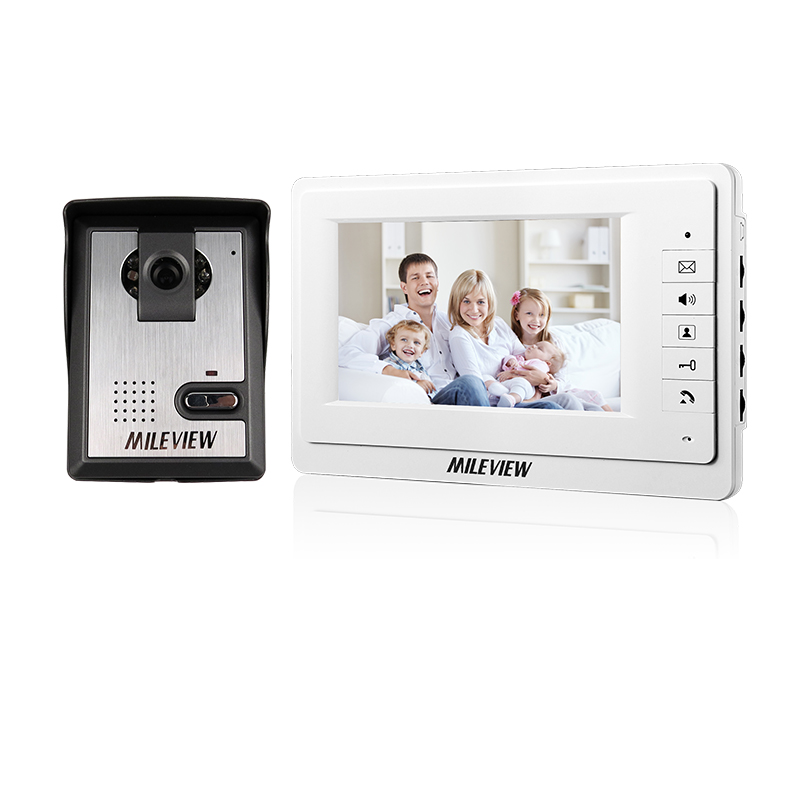 "FREE SHIPPING New 7"" Color Screen Video Intercom Door Phone Set 1 White Monitor + Waterproof Doorbell Camera In Stock Wholesale"