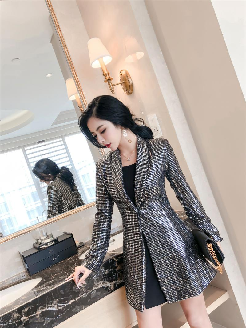 Spring New Women Bling Sequined Party Long Blazer Dress Elegant Slim Fit  Lapel Collar OL Work Suit Female Jacket Coats-in Blazers from Women s  Clothing on ... 9062d6176b78