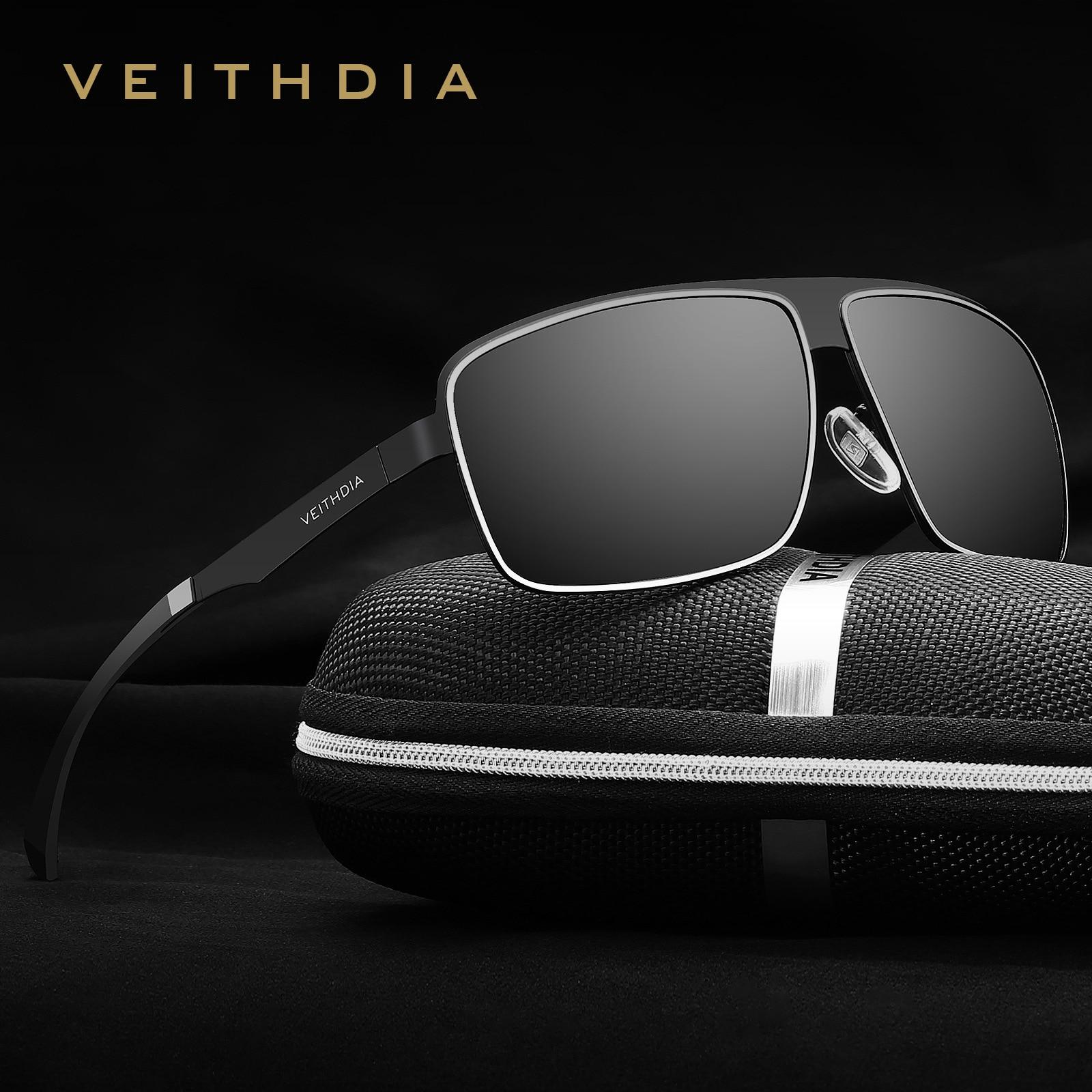 VEITHDIA Stainless Steel Top Aluminum Magnesium Polarized UV400 Men's Square Vintage Sun Glasses Male Eyewear Sunglasses For Men