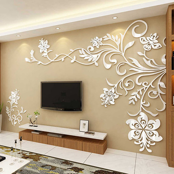 European Style 3D Flower Tree Wall Sticker Living Room Decorative Decals Home Art Decor Poster Solid Acrylic Wallpaper Stickers 16