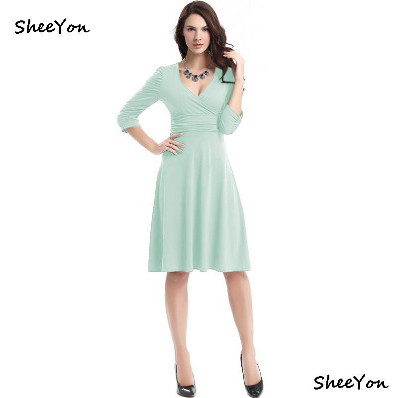 SheeYon Women summer solid loose deep V Neck dress female ...