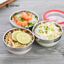 WORTHBUY Stainless Steel Salad Bowl With Lid Colorful Paint Leak-Proof Rice Bowl Kitchen Fruit Soup Bowl Food Container Box