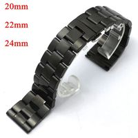YISUYA 20mm 22mm 24mm Black Stainless Steel Band Strap Deployment Buckle With Push Button Replacement Men Women