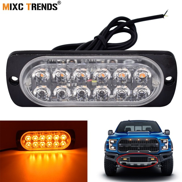 1Pcs Flashing LED Lights 12 Strobe Car 12V Truck Motorcycle Police  Emergency Light Bar Waterproof 16Flash Pattern