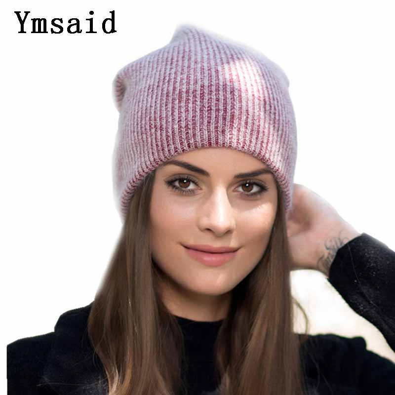 Ymsaid 2018 Winter New Wool Rabbit Knitted   Beanies   Hats For Women Casual Solid Color   Skullies   Hat Female Warm Ski Caps