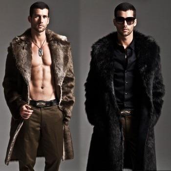 Men Fur Coat Winter Faux Fur Outwear On One Sides Coat Mens Punk Parka Jackets Long Leather Overcoats Genuine Fur Brand Clothing 1