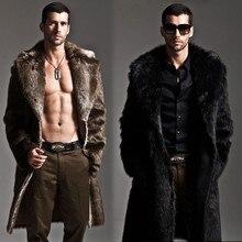 Men Fur Coat Winter Faux Fur Outwear On One Sides Coat Mens Punk Parka Jackets L