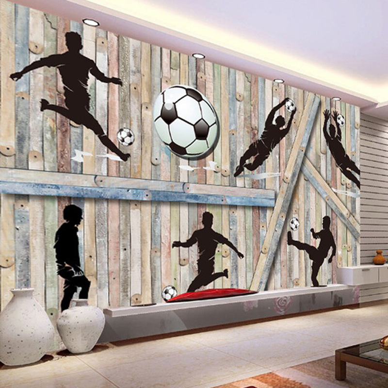 Sports Themed Wall Mural Playing Football Wood Background Custom Modern Simple Painting Photo Wallpaper For Living Room TV Decor