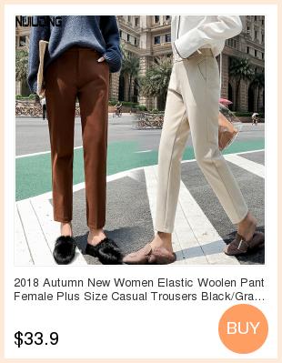 19 Autumn New Women Elastic Woolen Pant Female Plus Size Casual Trousers Black/Gray Harem Pants Winter Wool Ankle-Length Pants 4