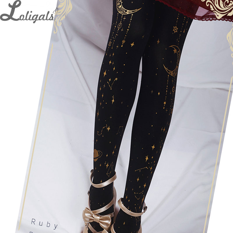 Orignal Design Black Star and Moon Printed Lolita Pantyhose Black White Patterned Tights by Ruby Rabbit