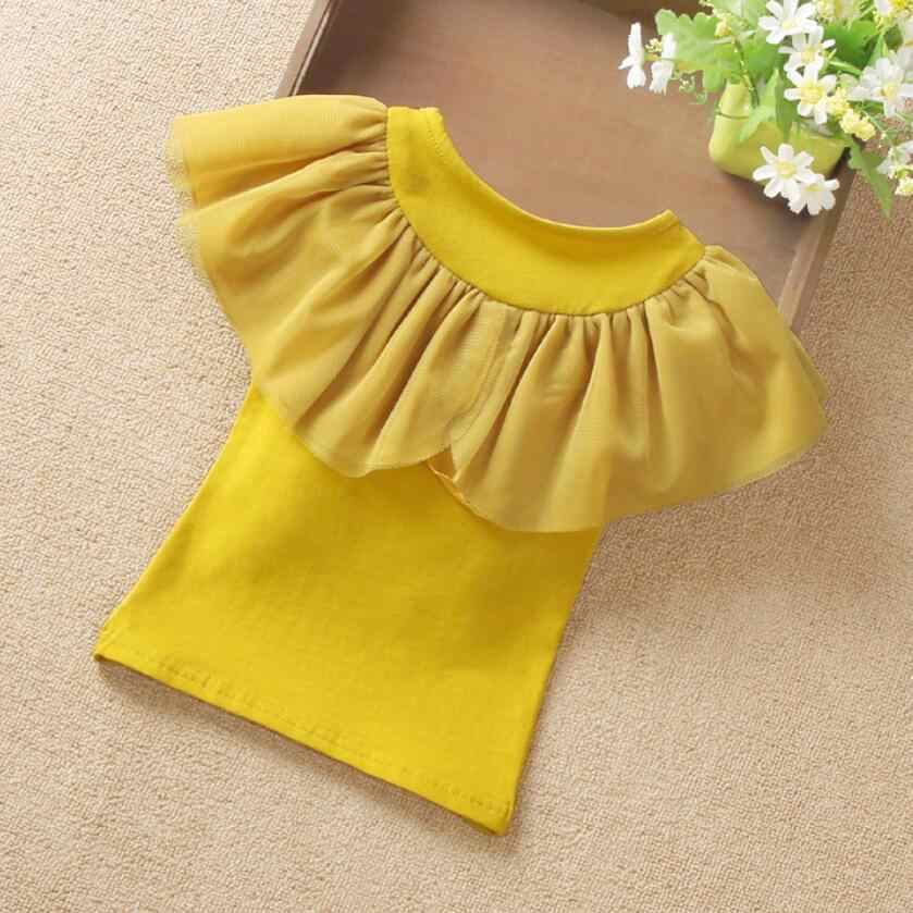 009fa22d4e68 ... Summer Girls Blouse Kids Shirts Short Sleeve White Yellow Ruffles School  Girl Tops Baby Toddler Teen ...
