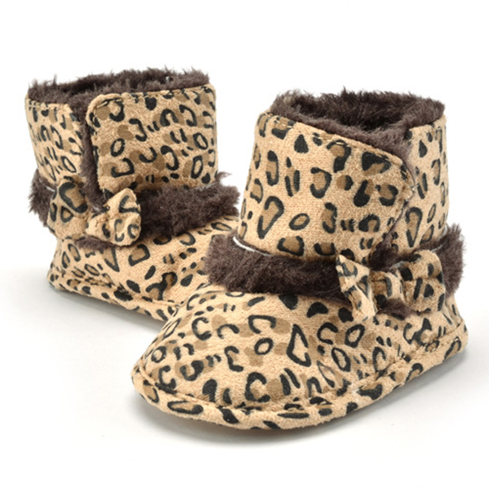 Baby Boots Winter Burst Child Snow Boots Children Warm Leopard Infant Crib Boys Girls Fur Winter Snow Shoes AO#<font><b>P</b></font>