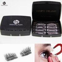 HaHaLash gift box Magnetic Eyelashes synthetic hair silk false eyelashes faux mink material 2 pair acrylic black box with mirror