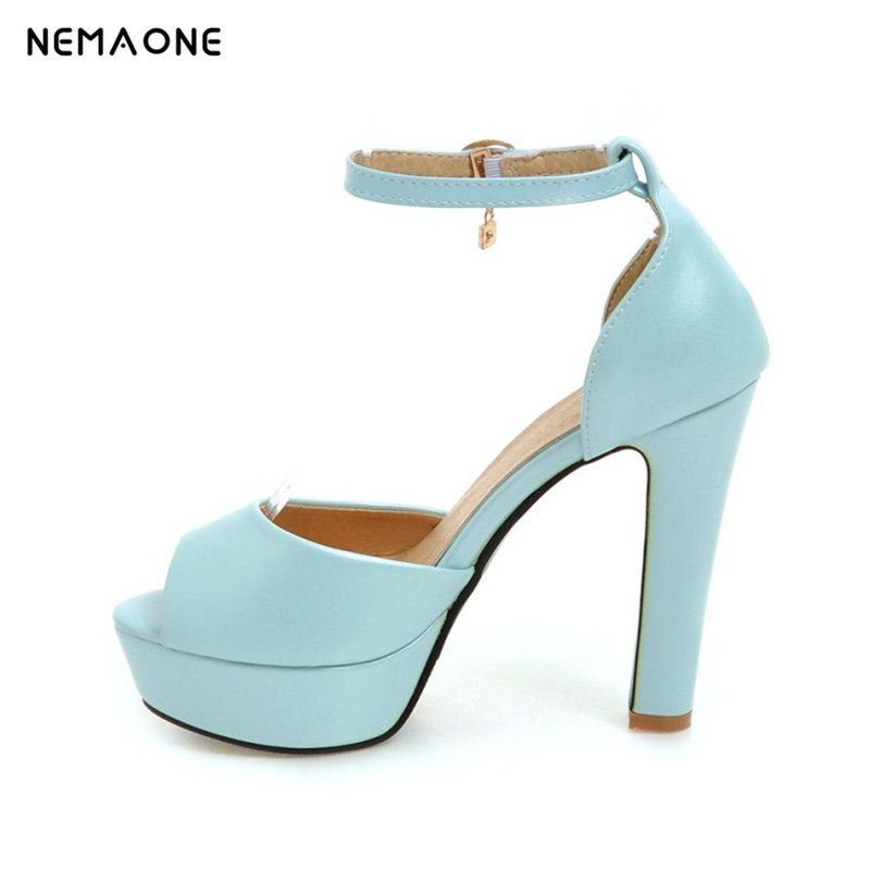 NEMAONE 2017 New women shoes high heels women sandals ankle strap summer shoes woman sexy party dress shoes 2017 new arrival abnormal jeweled heels rhinestone crystal embellished high heel sandals ankle strap lock summer party shoes
