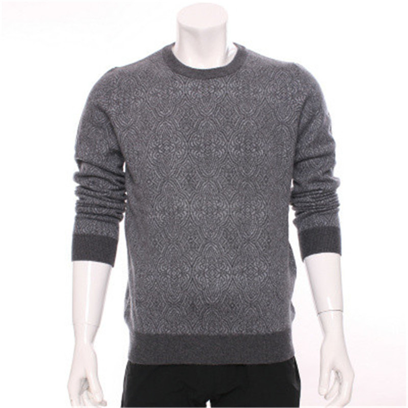 100%goat Cashmere Oneck Dark Jacquard Thick Knit Men Fashion Pullover Sweater H-straight Dark Blue 2color S-2XL