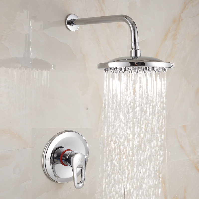 Brass Chrome 8 Inch Round Rainfall Shower Head Set Bathroom Hot and Cold Wall Mounted Shower Mixer Valve Faucet + Arm