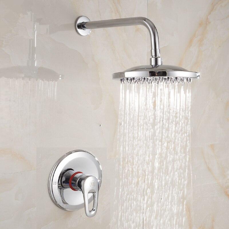 Laiton Chrome 8 pouces rond pluie pomme de douche ensemble salle de bain chaud et froid mural douche mitigeur robinet + bras