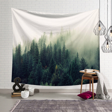 Misty Forest Tapestry Wall Hanging Nature Landscape 3D Print Bohemia Macrame Polyester Yoga Mat Picnic Throw Rug