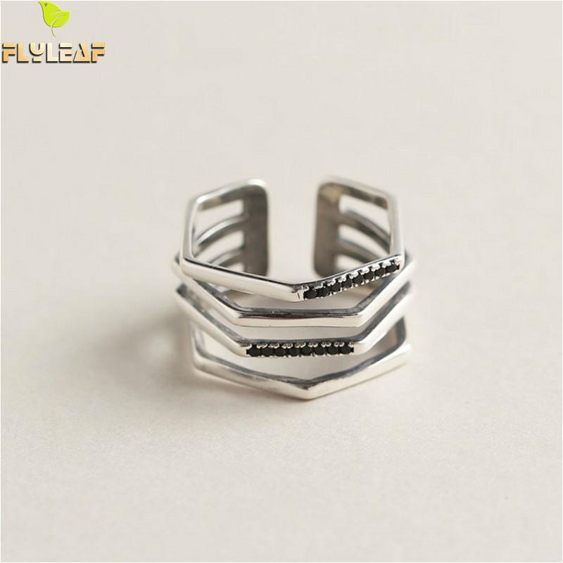 100% Wahr Flyleaf 925 Sterling Silber Ringe Für Frauen Multi-schicht Unregelmäßigen Schwarz Zirkon Mode Edlen Schmuck Einfache Offenen Ring Vintage Ruf Zuerst