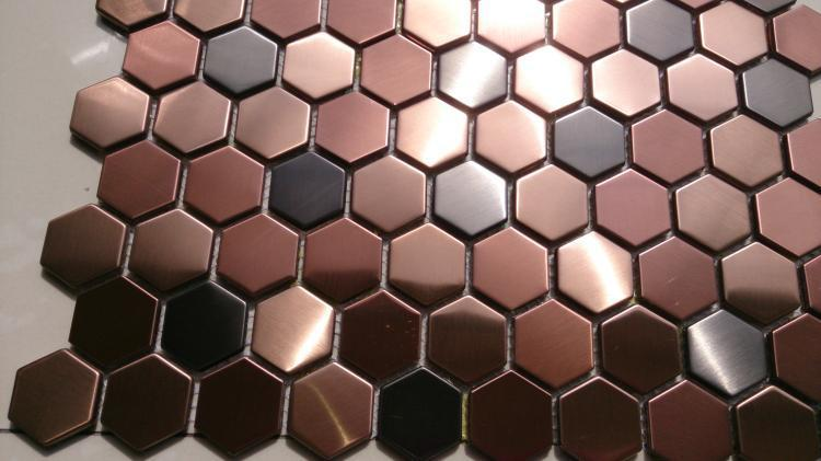 tiling mosaic tiles Picture - More Detailed Picture about Hexagon mosaics tile copper rose gold ...