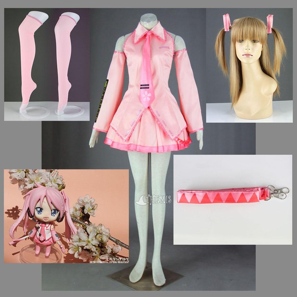 MMGG Vocaloid Hatsune Sakura Cosplay Costume Full Set Girls Sexy Strpless Pink Dress custom made Any size
