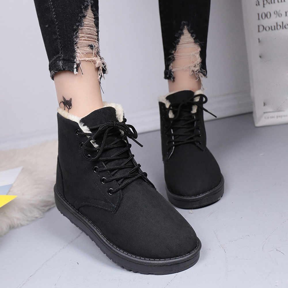 Moda Kış Bayan Kar Botları Düz Platformu Yuvarlak Ayak Ayakkabı Lace Up Sıcak Tutmak feminino estampado # L4