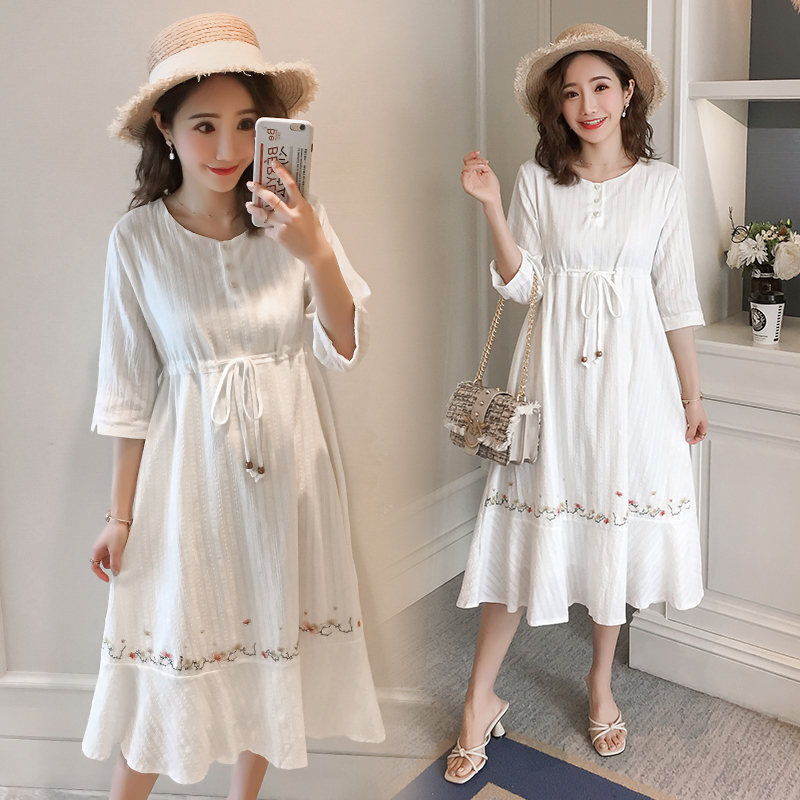 8909 Embroidery Cotton Maternity Long Dress Summer Fashion Slim Waist Clothes for Pregnant Women Elegant Slim Pregnancy Clothing8909 Embroidery Cotton Maternity Long Dress Summer Fashion Slim Waist Clothes for Pregnant Women Elegant Slim Pregnancy Clothing