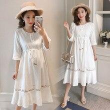 8909 stickerei Baumwolle Mutterschaft Lange Kleid Sommer Mode Schlanke Taille Kleidung für Schwangere Frauen Elegante Dünne Schwangerschaft Kleidung