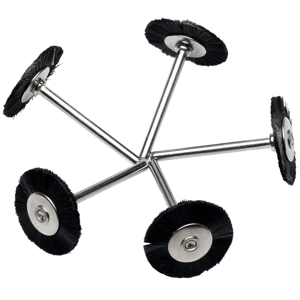 DRELD 5PCS Dremel Accessories 3MM Shank Flat Nylon Bristle Wheels Brush Buffing Polishing Brush Wheel For Dremel Rotary Tools