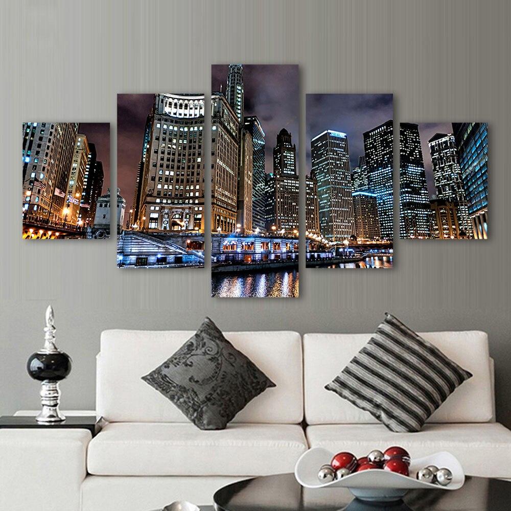 Aliexpress.com : Buy QKART 5 Panels Landscape Chicago City