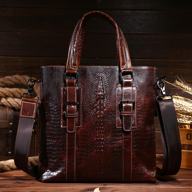 ФОТО Genuine leather business men handbags with high quality male briefcase shoulder bags retro casual travel messenger bags for men
