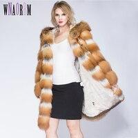 Женская Шуба из натурального меха, зимняя куртка из натурального Лисьего меха, толстая теплая Модная шуба из натурального меха лисы, шуба с